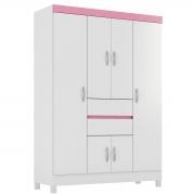 Guarda-Roupa Ecom II 6 Portas Branco/Rosa Flex Demóbile