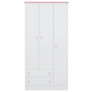 Guarda-Roupa Infantil Doce Sonho 3 Portas Branco/Rosa