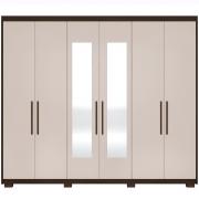 Guarda-Roupa New Maestro 6 Portas c/ Espelho Ebano/Off White