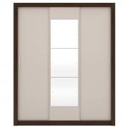 Guarda-Roupa Vero 3 Portas c Espelho Ébano/Off White Flex