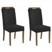 Kit 2 Cadeiras Estofadas Heloísa 100% Madeira Suede Preto