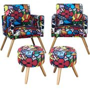 Kit 2 Poltronas New Nina 2 Puff Milão Estampa Romero Britto