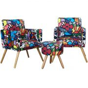 Kit 2 Poltronas New Nina e Puff Milão Estampa Romero Britto