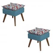 Kit 2 Puffs Decorativos Helena Azul/Vermelho Floral