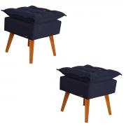 Kit 2 Puffs Decorativos Helena Pés de Madeira Azul Marinho
