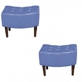 Kit 2 Puffs Decorativos Sandy Sintético Metalizado Azul