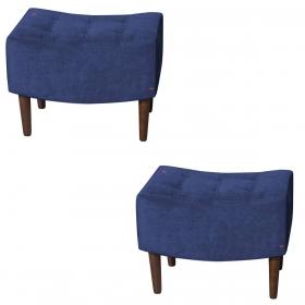 Kit 2 Puffs Decorativos Sandy Veludo Azul Perfan
