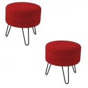 Kit 2 Puffs Decorativos Smart Pés de Ferro Veludo Vermelho