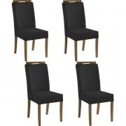 Kit 4 Cadeiras Estofadas Fabiana 100% Madeira Suede Preto