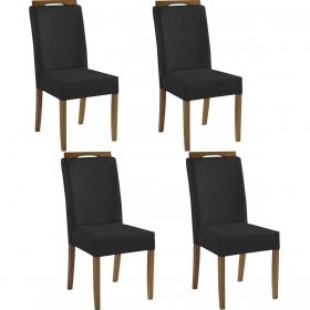Kit 4 Cadeiras Estofadas Heloísa 100% Madeira Suede Preto