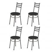 Kit 4 Cadeiras Redondas Tubular 3/4 Cromado Assento Preto