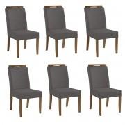 Kit 6 Cadeiras Estofadas Fabiana 100% Madeira Suede Cinza