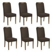 Kit 6 Cadeiras Estofadas Fabiana 100% Madeira Suede Marrom