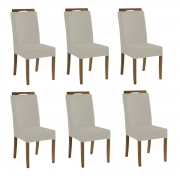 Kit 6 Cadeiras Estofadas Heloísa 100% Madeira Suede Bege