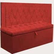 Kit Cabeceira Bianca e Calçadeira Itália Solteiro 90 cm Vermelho