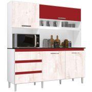 Kit de Cozinha Florença Branco/Aspen/Vermelho Incorplac