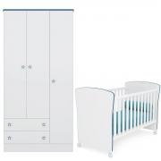 Kit Guarda-Roupa e Berço Infantil com Perfil Doce Sonho Branco/Azul