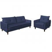 Kit Sofá Living 2,10 e Poltrona Decorativa Suede Azul Marinho