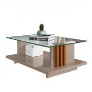 Mesa de Centro Frizz Com Vidro Retangular Fendi/Naturale