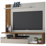 Painel Home Tijuca Off White/Nogueira Linea Brasil p/ TV 60'