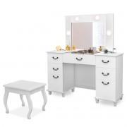 Penteadeira Camarim Branca com Banqueta Usb e Espelho Seul Luapa