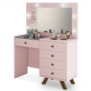 Penteadeira Camarim Luna com Espelho Rosê Luapa