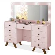 Penteadeira Camarim Mila com Espelho Rosê Luapa