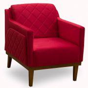 Poltrona Decorativa Germany Vermelho Soft Skin JS Móveis