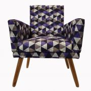 Poltrona Decorativa New Nina Pé Palito Triângulo Roxo