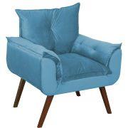 Poltrona Decorativa Opala Animale Azul Turquesa
