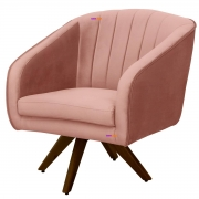 Poltrona Decorativa Selena Giratória Madeira Veludo Rosê