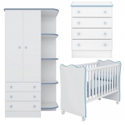 Quarto Infantil Doce Sonho Branco/Azul Casa Chick