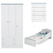 Quarto Infantil Doce Sonho com Mini-Cama Branco/Azul Casa Chick