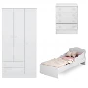 Quarto Infantil Doce Sonho com Mini-Cama Branco Casa Chick