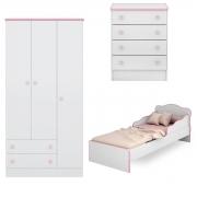 Quarto Infantil Doce Sonho com Mini-Cama Branco/Rosa Casa Chick