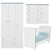 Quarto Infantil Doce Sonho com Perfil Branco/Azul Casa Chick