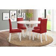 Sala de Jantar Bahamas com 4 Cadeiras Ônix Branco/Vermelho