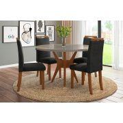 Sala de Jantar Bahamas com 4 Cadeiras Ônix Imbuia Claro/Gelo/Preto