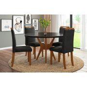 Sala de Jantar Bahamas com 4 Cadeiras Ônix Imbuia Claro/Preto/Preto
