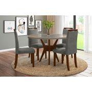 Sala de Jantar Bahamas com 4 Cadeiras Ônix Imbuia/Gelo/Cinza