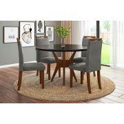 Sala de Jantar Bahamas com 4 Cadeiras Ônix Imbuia/Preto/Cinza