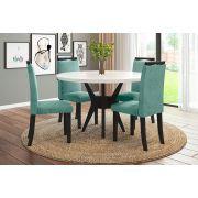 Sala de Jantar Bahamas com 4 Cadeiras Ônix Preto/Branco/Tiffany