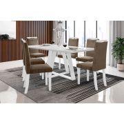 Sala de Jantar Lille com 6 Cadeiras Ônix Branco/Castor