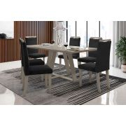 Sala de Jantar Lille com 6 Cadeiras Ônix Gelo/Preto