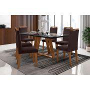 Sala de Jantar Lille com 6 Cadeiras Ônix Imbuia/Preto/Tabaco