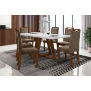 Sala de Jantar Lille e 6 Cadeiras Ônix Imbuia/Branco/Castor