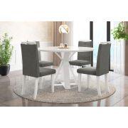 Sala de Jantar Lisboa com 4 Cadeiras Ônix Branco/Cinza