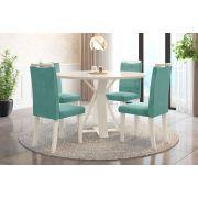 Sala de Jantar Lisboa com 4 Cadeiras Ônix Off White/Tiffany