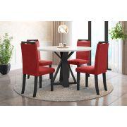 Sala de Jantar Lisboa com 4 Cadeiras Ônix Preto/Branco/Vermelho