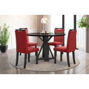 Sala de Jantar Lisboa com 4 Cadeiras Ônix Preto/Vermelho